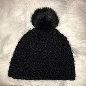 Surell Black Pom Pom Hat